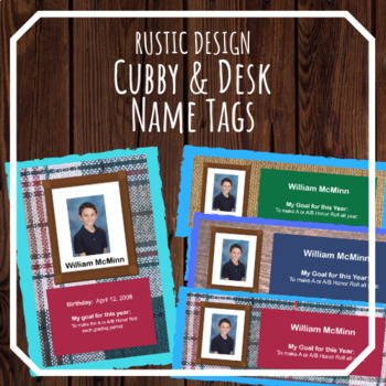 Cubby and Desk Labels, Rustic Design -- EDITABLE