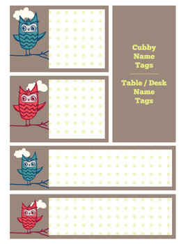 Name Tags: Cubby and Desk / Table  - Owl theme
