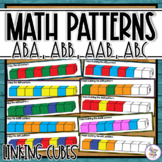 Cube Pattern Activity Task Cards & Worksheets with AB, ABB, AAB, AABB, ABC
