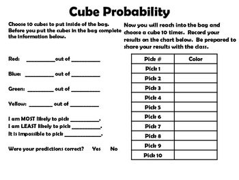 Cube Probability Activity
