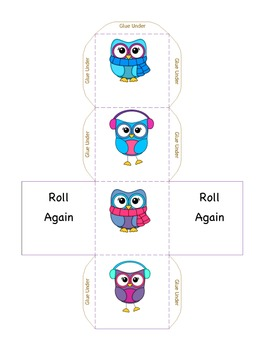 Cube Roll:  Winter Owls Easy