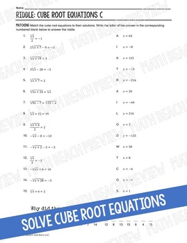 Cube Root Equations Riddle Activity
