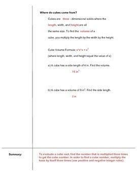 Cube Roots Cornell Notes