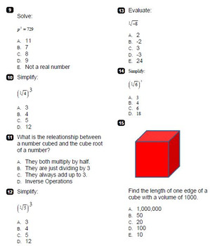 Cubes & Cube Roots Question Test Bank BNK  8.EE.A.2 Go Math Grade 8 for ExamView