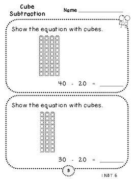 Cube Subtraction-Student Pages (First Grade, 1.NBT.6)
