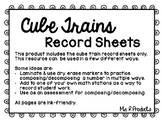 Cube Train Record Sheets-Composing and Decomposing Numbers to 10
