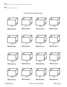Cube Volume Worksheet - 32 Questions