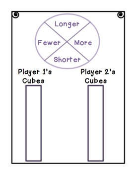 Cube Wars Math Game Longer, Shorter, More, Fewer VOCAB