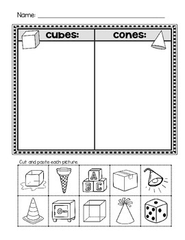 3D Shapes - Cube and Cone Sort