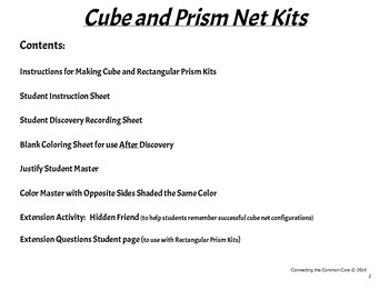 Surface Area Discovery Kit and Cube Net Activities