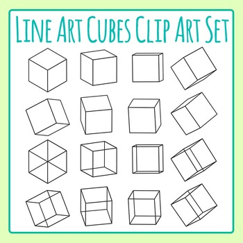 Cubes Clip Art Line Art for Commercial Use