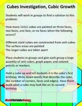 Cubes Investigation, Cubic Growth {Measurement Game}