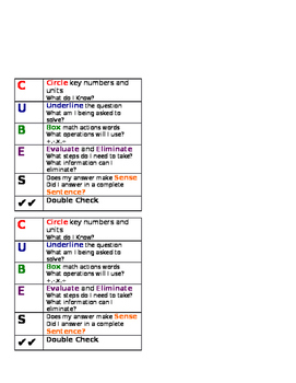Cubes Math Strategy Poster and Desk tags