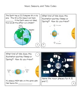 Cubes- Moons, Seasons, & Tides- STAAR review game
