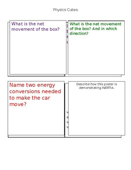 Cubes- Physics- 8th Grade STAAR review game