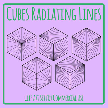 Cubes With Radiating Lines on Surfaces Clip Art Set For Commercial Use