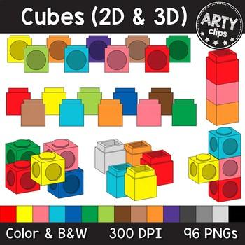 Cubes clipart MEGA BUNDLE- Snap Linking Unifix Cubes (96 PNGs) Math {Arty Clips}