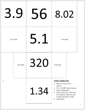 Cubes for Practicing Decimal Multiplication and Division