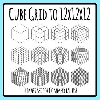 Cubes of Grids - from 1 to 12 x 12 x 12 Math Clip Art Set Commercial Use