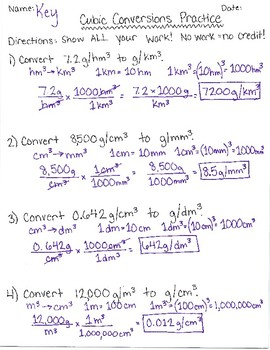 Cubic Unit Conversions and Practice