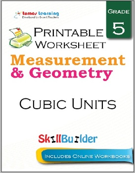 Cubic Units Printable Worksheet, Grade 5