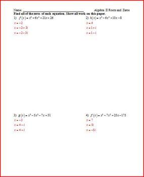 Cubics, Conics, Roots, Radicals- Misc Worksheets
