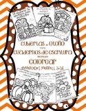 Cubiertas de  otoño para cuadernos de escritura que pueden colorear