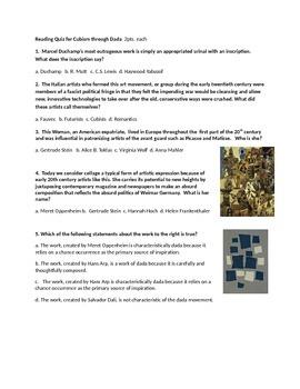Cubism through Dada Reading Quiz