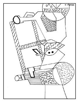 Cubist Person Relief Sculpture Visual Arts Lesson for 5th to 10th Grade