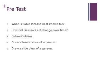 Cubist history, Picasso bio and Cubist portrait creation step-by-step PowerPoint