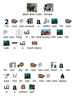 Cubs escape Bear Country - picture supported text current events lesson visuals