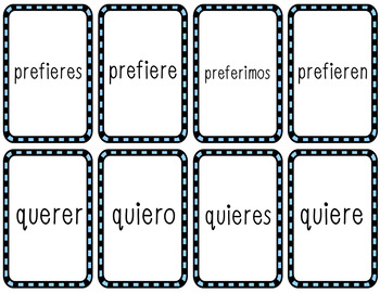 Cucharas Conjugation Card Game (Present Tense Stem-Changing Verbs)
