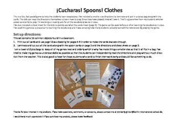 ¡Cucharas! Spoons! A fun game to learn about clothes