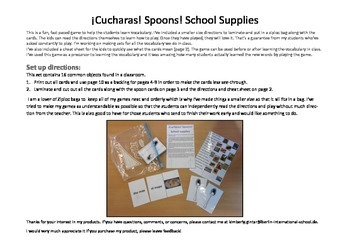 ¡Cucharas! Spoons! A fun game to learn about school supplies