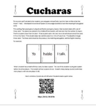 Cucharas (Spoons) AR Verbs Game with Meanings