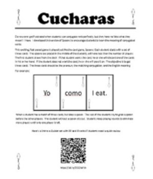 Cucharas (Spoons) ER/IR Verbs Game with Meanings