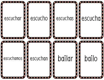 Cucharas Spoons Game (Spanish Present AR Verbs)