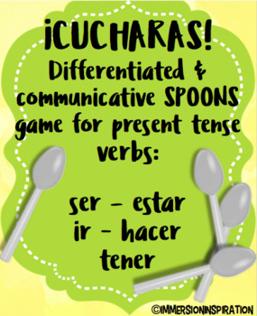 Cucharas Spoons Game for Common Spanish Verbs