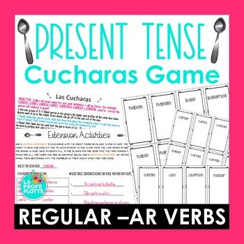 ¡Cucharas! Spoons Game for Present Tense of Regular -AR Verbs