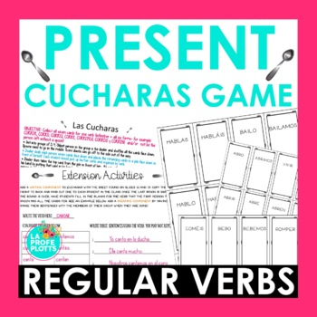 ¡Cucharas! Spoons Game for Present Tense of Regular AR/ER/IR Verbs