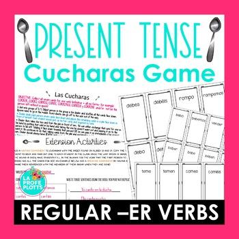 ¡Cucharas! Spoons Game for Present Tense of Regular -ER Verbs