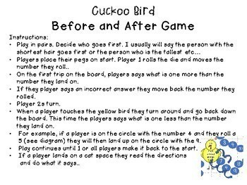 Cuckoo Bird Before and After Math Game-Numbers to 20-K-2 Game