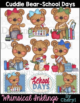 Cuddle Bears School Days Clipart Collection