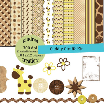 Cuddly Giraffe Paper and Clip Art Set