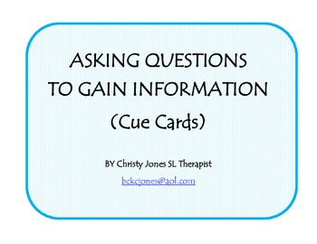Question Cues Cards