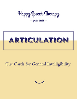 Cue Cards for General Intelligibility - Speech Therapy