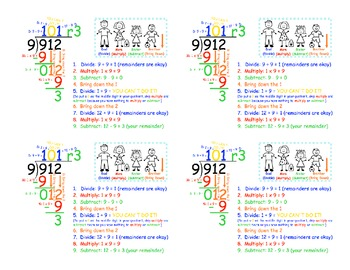 Cue Cards for Long Division
