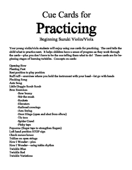 Cue Cards for Painless Practicing for Beginning Suzuki Vio