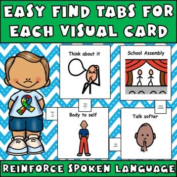 Cue Cards (large) set 2: Visual Behavior Tool Book (Autism & Aspergers)