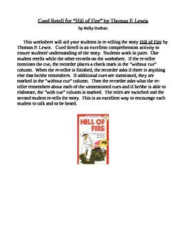 Cued Retell of Hill of Fire by Thomas P. Lewis Comprehension Check